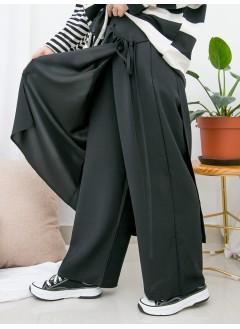 1915-1008- 日系・layer - DOUBLE LAYER X 側腰束繩 , 後腰橡根 X 滑滑料裙褲 (韓國)0
