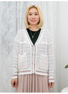 1913-1010a-tweed・氣質- 全開胸扣金邊珍珠鈕 X 前兩袋 , 拼色 X 金線 , 厚線仔料外套 (韓國)