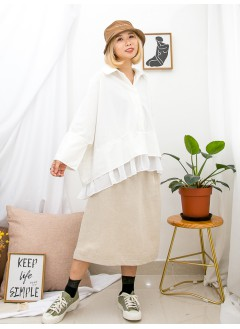 1911-1507-寬寬・鬆鬆- 全開胸扣鈕 X 下擺DOUBLE LAYER X RUFFLE邊 , 雪紡料 X 恤衫料 , 前短後長TOP (韓國)