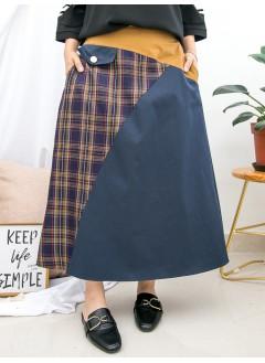 1915-1015avintage style- 兩側袋 X 後腰橡根 , 格仔PATTERN X 拼淨色 , 扯布料A-LINE形半截裙 (韓國)0