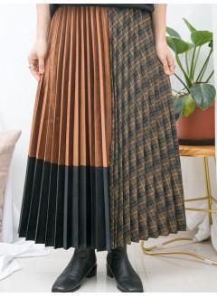 1915-1069-零死角- 百摺拼色絲絨料 X 百摺格仔扯布料 , 橡根腰半截裙 (韓國) 0