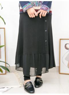 2015-1002- 小魚尾 - 前幅下擺雪紡料 X COTTON料 , 橡根腰半截裙連LEGGING (韓國)0