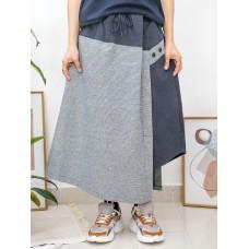 2015-1011- 特式・拼布 - 不規則下擺 X 橡根腰束繩 , 格仔PATTERN X 淨色 , 扯布料半截裙 (韓國)0