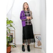 2011-1020 - 紫調・魅力 -不規則下擺 X 領位 , 袖口拼色羅紋料 , 大, 細格仔拼布恤衫料 X 淨色雙面料TOP (韓國)0