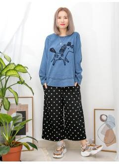 2011-1029- 超可愛 - ' 獨角馬 ' 刺繡圖案 X 薄牛仔料TOP (韓國)0