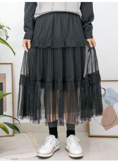 2015-1007-層層・美感- DOUBLE LAYER網布 X 百摺 X RUFFLE邊 , 橡根腰半截裙 (有厘布) (韓國)0
