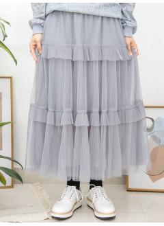 2015-1007A- 層層・美感 - DOUBLE LAYER網布 X 百摺 X RUFFLE邊 , 橡根腰半截裙 (有厘布) (韓國)0