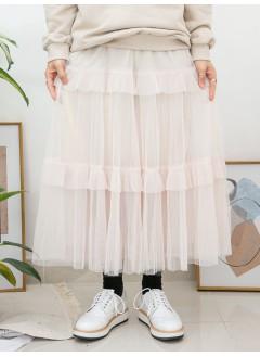 2015-1007B- 層層・美感 - DOUBLE LAYER網布 X 百摺 X RUFFLE邊 , 橡根腰半截裙 (有厘布) (韓國)0