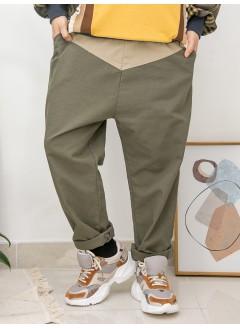 2015-1009A- 悠閒・隨性 - 兩側袋 X 橡根腰束繩 , 腰位拼色 X 扯布料 , 少低浪直腳褲 (韓國)0