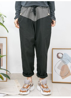2015-1009-悠閒・隨性- 兩側袋 X 橡根腰束繩 , 腰位拼色 X 扯布料 , 少低浪直腳褲 (韓國)0