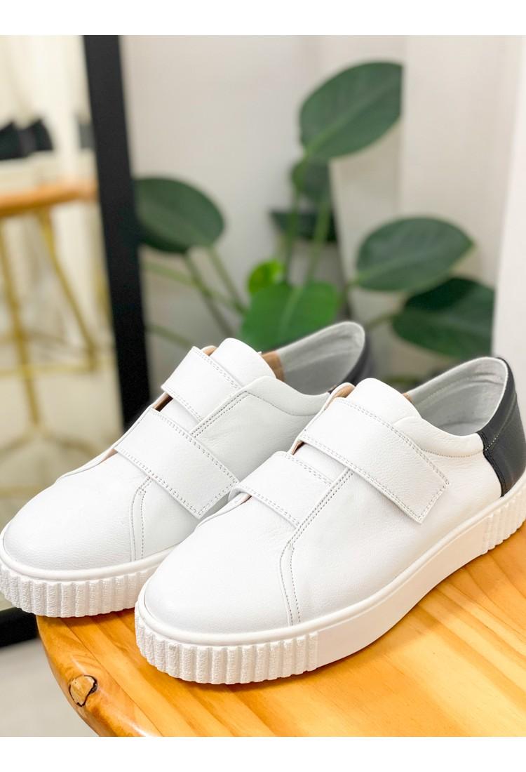 2017-1020 - 韓國品牌・soyou -魔術貼 X 後踭拼色 , 真皮厚底鞋 (韓國)