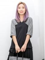 2011-1527-斯文・氣質- 領邊波浪紋網布 X 下擺兩旁開叉 , 手袖點點薄絨料 X 淨色雙面料TOP (韓國)0