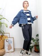2013-1033-復古・靚牛- 全開胸扣鈕 X 袖口 , 下擺SOSO邊 , 後幅下擺打摺 X 短身牛仔褸 (韓國)  0