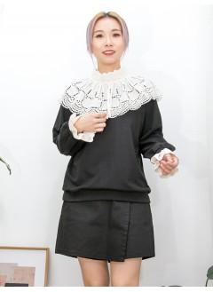 2011-1530-提升・氣質- 領位 , 袖口通花刺繡恤衫料 X 薄衛衣料TOP (韓國) 0
