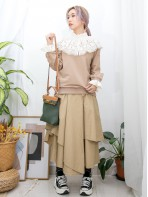 2011-1530A - 提升・氣質 -領位 , 袖口通花刺繡恤衫料 X 薄衛衣料TOP (韓國)  -