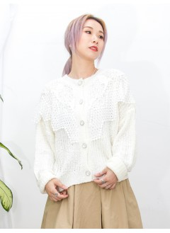 2013-1040 - 兩著款 -全開胸扣鈕 X 領邊通花LACE , 冷料外套 (韓國) 0
