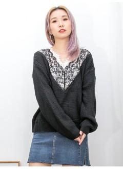 2011-1551-優美・蕾絲- 領位DOUBLE LAYER X 拼色通花LACE , V領 X 冷料TOP (韓國) 0