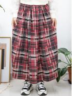 2015-1168-驚喜・裙子- 兩側袋 X 橡根腰 , 格仔PATTERN薄絨料 , 半截裙 (韓國) 0