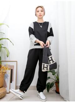 2011-1568 -個性・型格-領位羅紋 X 格仔PATTERN薄絨料 X 淨色薄衛衣料TOP (韓國)