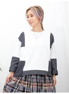 2011-1568A - 個性・型格 -領位羅紋 X 格仔PATTERN薄絨料 X 淨色薄衛衣料TOP (韓國) 0