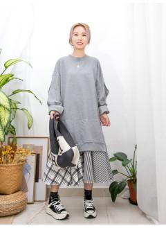 2016-1122A- 設計感 - 下擺格仔 X 斜紋恤衫料 ,手袖DOUBLE LAYER X 開口位 ,淨色薄衛衣料OPS (韓國)0
