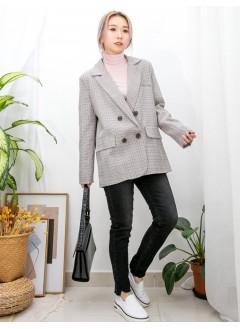 2013-1045 - 復古・style -前兩袋 X 格仔PATTERN , 滑滑扯布料 X 孖襟西裝褸 (有厘布) (韓國)