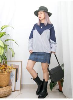 2011-1572-隨意美- 下擺兩旁開叉 X 直紋恤衫料 X 淨色薄衛衣料 , 假兩件TOP (韓國) 0