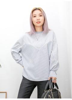 2011-1592 - 隨意美 -下擺兩旁開叉 X 直紋恤衫料 X 淨色薄衛衣料 , 假兩件TOP (韓國) 0
