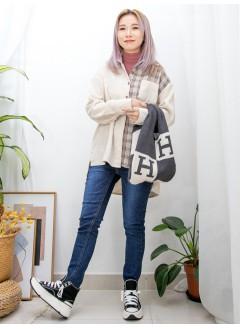 2011-1571-日系・格格- 下擺兩旁開叉 X 全開胸扣鈕 , 格仔薄絨料 X 淨色燈芯絨料TOP (韓國) 0