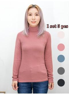 2011-1583- 治療・色系 - 羅紋料 X 樽領 , 打底衫 (一SET 5色) (韓國) -