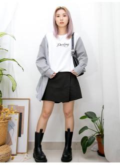 2011-1565A - 變化・style -英文字刺繡 X 手袖 , 前一幅直紋恤衫料 X 淨色薄衛衣料TOP (韓國) 0
