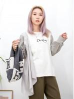 2011-1565-變化・style- 英文字刺繡 X 手袖 , 前一幅直紋恤衫料 X 淨色薄衛衣料TOP (韓國)0
