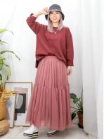 2011-1574A- Daily - 下擺兩旁開叉 X 英文字刺繡 , 薄衛衣料TOP (韓國) 0