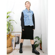 2013-1042 - SET 裝 -全開胸扣鈕 X 下擺SOSO邊 , 手袖坑紋冷料 X 牛仔褸 + 坑紋冷料半截裙 (SET) (韓國) 0