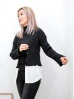2013-1029- 慵懶感 - 全開胸扣鈕 X 下擺恤衫料 , 坑紋冷料外套 (韓國) 0