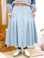 2015-1181 - 牛仔控 -全開胸扣鈕 X 兩側袋 , 袋邊打摺 X 下擺SOSO邊 , 薄牛仔料半截裙 (韓國)