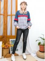 2011-1598A- 冬・色調 - 下擺兩旁開叉 X 拼色織帶 ,格仔薄絨料 X 淨色扯布料TOP (韓國)  -