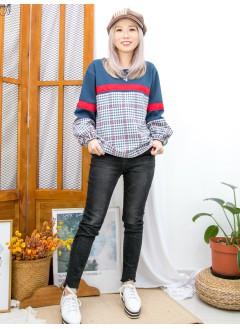 2011-1598A- 冬・色調 - 下擺兩旁開叉 X 拼色織帶 ,格仔薄絨料 X 淨色扯布料TOP (韓國)