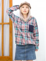 2011-1593-兩著款- 全開胸扣鈕 X 麻花冷料袋仔 , 下擺束繩 X 後領位 , 帽內燈芯絨料 , 兩側袋 X 格仔薄絨料TOP (韓國) 0