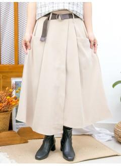 2015-1180A - 百搭・單品 -不規則下擺 X 前兩袋 , 後腰橡根 X 前腰打摺 , 滑滑扯布雙面料半截裙 (連腰帶) (韓國) 0