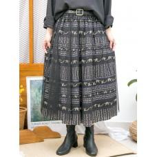 2015-1179-法式・美感- DOUBLE LAYER花花PATTERN恤衫料 X 網布 , 橡根腰半截裙 (韓國)