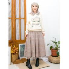 2011-1596A - Vintage & lace -DOUBLE LAYER格仔恤衫料 X 通花LACE反領位 , 英文字PRINT X 衛衣料TOP (韓國)  0