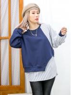 2011-1573 -設計感-單邊手袖釘鈕 X 直紋恤衫料 X 淨色衛衣料 , 假兩件TOP (韓國) 0