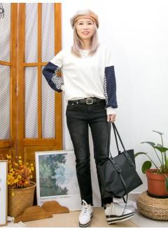 2011-1595 - 麻花・千鳥格 -下擺兩旁開叉 X 手袖麻花冷料 X 拼色PATTERN薄絨料 , 淨色雙面料TOP (韓國)  0