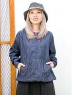 2011-1579 -日系・牛仔 -下擺束繩 X 前兩袋 , 帽位格仔麻棉料 X 牛仔料TOP (韓國)  0