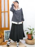 2011-1589-甜美・日系- 全開胸扣鈕 X 反領位 , 下擺通花刺繡恤衫料 , 點點PATTERN麻棉料TOP (韓國) 0