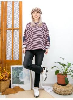2011-1601 -橫間控-下擺兩旁開叉 X 領位羅紋料 , 橫間抓毛衛衣料TOP (韓國)