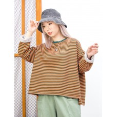 2011-1601B - 橫間控 -下擺兩旁開叉 X 領位羅紋料 , 橫間抓毛衛衣料TOP  (韓國)