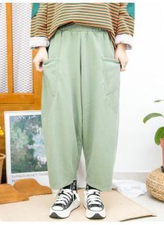 2015-1172A - 寬鬆・日系 -前兩袋 X 橡根腰 , 薄衛衣料 X 低浪褲 (韓國)