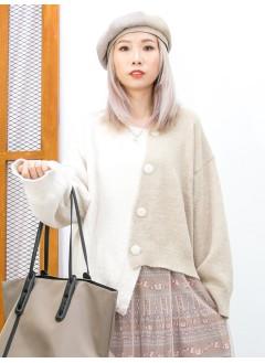 2013-1046A - 個性・美感 -不規則下擺 X 斜開胸扣鈕 , 拼色毛毛冷料外套 (韓國) 0